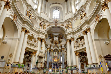 Interior of ancient church. It is constructed 1600-1700. The city of Lvov, Ukraine Stock Photo - 8203623