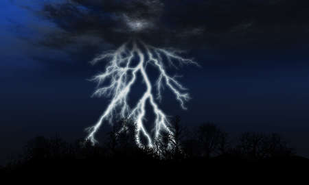 Lightning. Bright flash of a lightning above forest photo