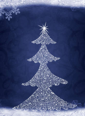 Christmas abstract fur-tree. It is created from set of different snowflakes Stock Photo - 8203668