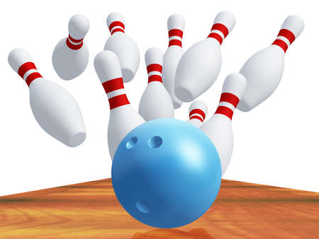 skittles: Skittles for game in bowling with blue ball. It is isolated on a white background