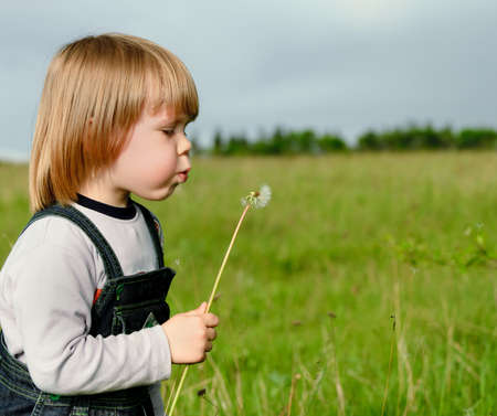 The boy and a dandelion photo