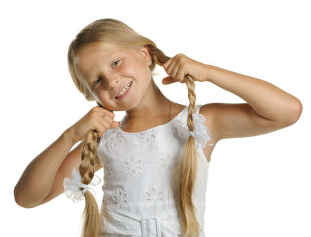 long shots: The pretty girl the blonde holding itself for braid. It is isolated on a white background