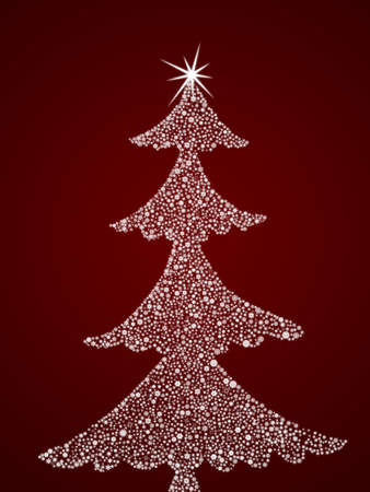 Christmas abstract fur-tree. It is created from set of different snowflakes Stock Photo - 8251228