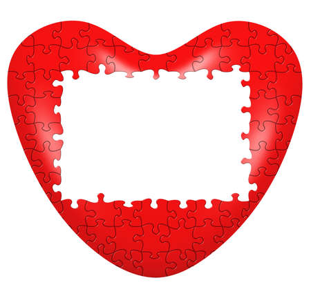finding love: Heart puzzle 3D wtih frame. Isolated on whte Stock Photo