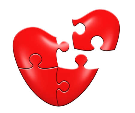 finding love: Heart puzzle. Isolated on white backgground