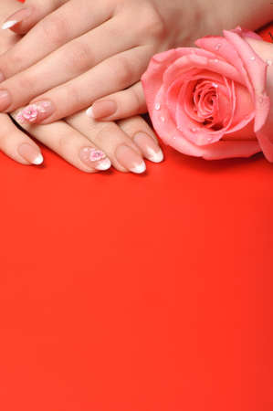Manicure. Female hands on red background. Well-groomed female hands with a decorative element - a flower photo