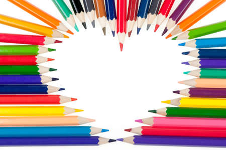 Heart from color pencils. It is isolated on a white background Stock Photo - 8453676