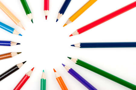 descriptive colour: Circle from color pencils. It is isolated on a white background Stock Photo