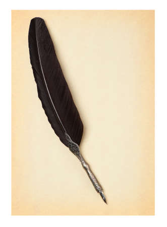 eather: Feather quill  on an old paper. Isolated on white Stock Photo