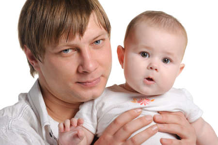 kindred: The father and the daughter. The child age of 8 months. It is isolated on a white background Stock Photo
