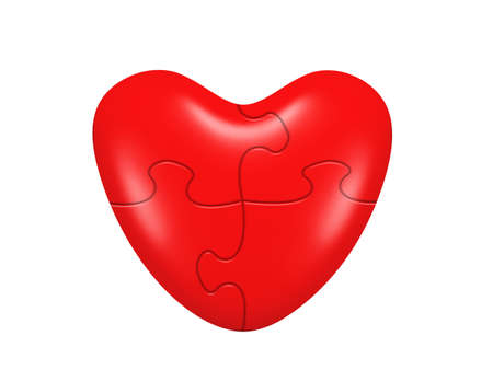 Heart puzzle. Isolated on white backgground photo