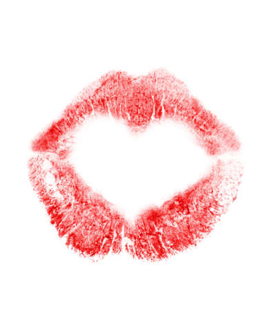 Print of lips in the form of heart. It is isolated on a white background photo