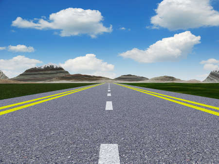 road marking: Asphalt road. A transport highway with the blue sky. A transport highway with the blue sky Stock Photo