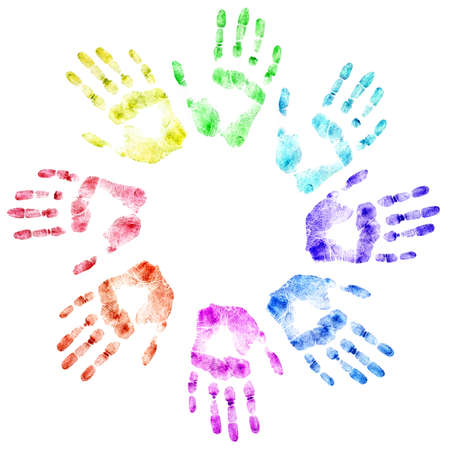 detailed image: Color print of human hands. The detailed image. It is isolated on a white background