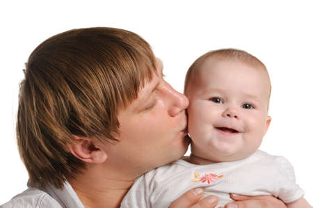 The father and the daughter. The child age of 8 months. It is isolated on a white background photo