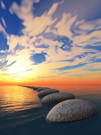 Rock in water en gele zonsondergang. De abstracte brug in de open oceaan vanaf een kiezelsteen. Fantastische zonsondergang