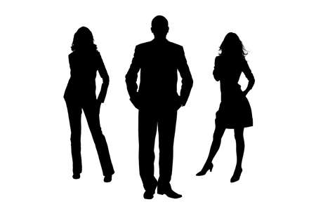 woman shadow: Silhouette of the man and women. The man the leader. It is isolated on a white background