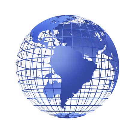 globo terraqueo: transparente del mundo en color azul.Un modelo de tablero de tierra. Se est� aislado en un fondo blanco Foto de archivo