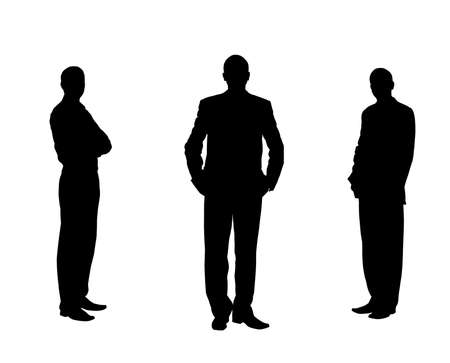 Silhouette of the men. Various poses. Uncurl hair. It is isolated on a white background photo