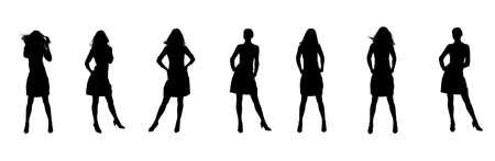 woman isolated: Silhouette of the woman. Various poses. Uncurl hair. It is isolated on a white background