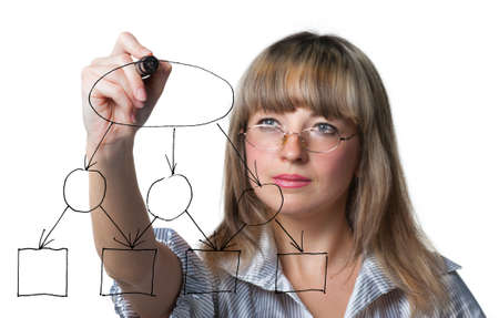 The business woman draws felt pen an empty diagramme. Focus on felt pen. It is isolated on the white background. photo