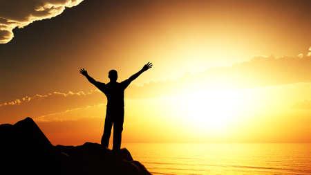 mano de dios: hombres saludo sol. Se encuentra en la colina, el oc�ano y la puesta de sol amarillo