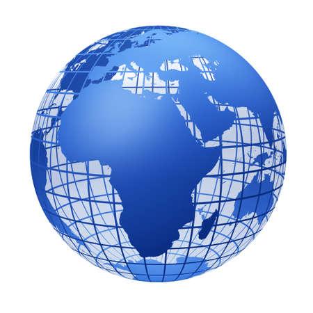 the globe: trasparente il globo colore blu.Un modello di tagliere di terra. Esso � isolato su uno sfondo bianco