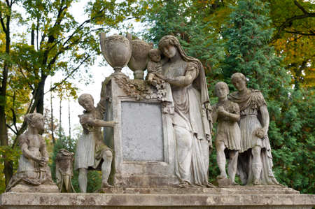 Tombstone family on a cemetery. Lychakiv Cemetery Lvov, Ukraine. photo
