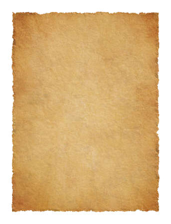 Parchment with ragged edges. Detailed old page papers. It is isolated on a white background photo