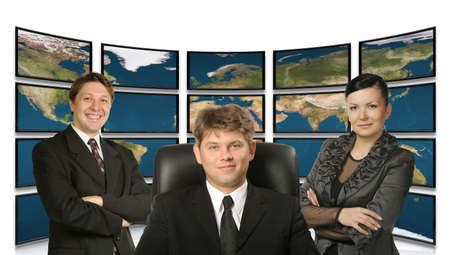 Business people. Group of people and big virtual the monitor with the image map the earths on a background. photo