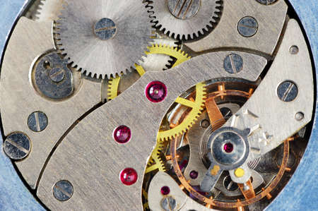 The mechanism of old hours. A photo close up. photo