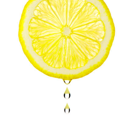 Section lemon with drop. The detailed photo on a gleam. It is isolated on a white background Stock Photo - 9372100
