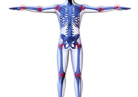 bol: Szkielet mężczyzna z centrami narzekać stawów. 3D obrazu mężczyzny szkielet pod przejrzyste skóry