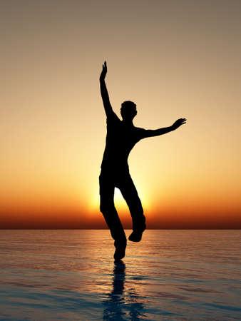 Der Mann auf dem Wasser gehen. Eine Silhouette gegen einen Rückgang Standard-Bild - 9459430