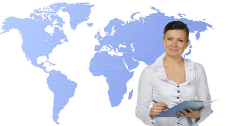 The commentator of news. The women with the virtual map on a background photo