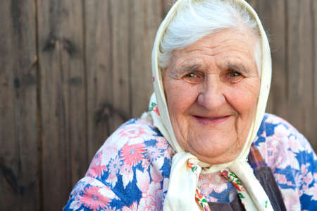 only senior women: The old woman age 84 years. Detail closeup portrait Stock Photo