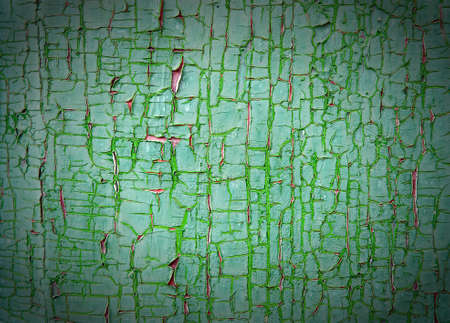 Texture peeled off paints. A wooden surface, green colour Stock Photo - 9523593