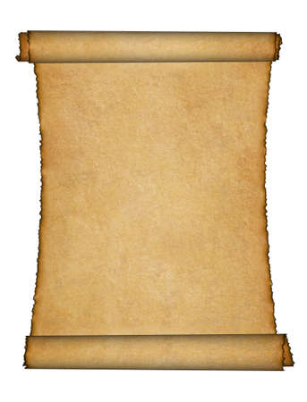 rolled up: Twisted parchment. Detailed old page papers. It is isolated on a white background