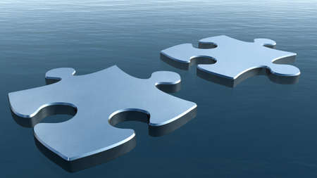 two piece: Two puzzles on a water surface. 3D image