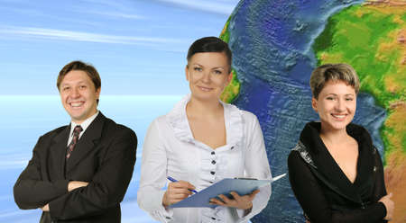 Business people. Group of people and the earth globe on a background. photo