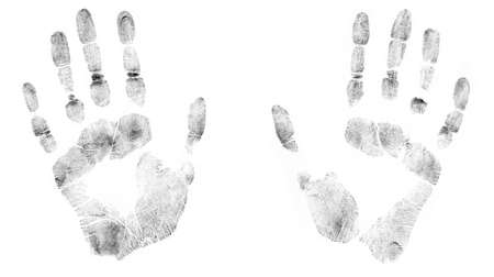 detailed image: Print of human hands. The detailed image. It is isolated on a white background Stock Photo
