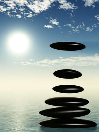 above water: Zen stone on water and fall one stone.Stock pebble on sky background and sun Stock Photo