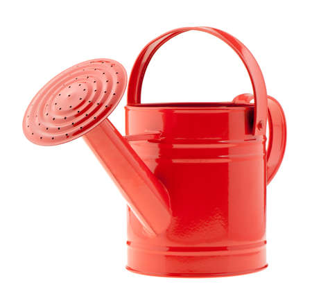 cans: Red watering can. It is isolated on a white background
