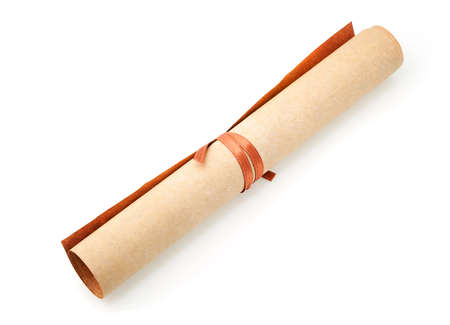 roll: Parchment roll. It is isolated on a white background Stock Photo