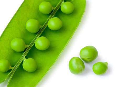 Pea. A photo by close up of green peas it is isolated on a white background photo