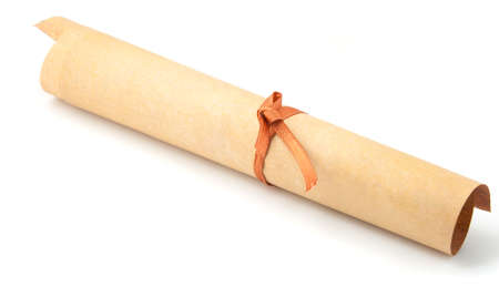 rolled scroll: Parchment roll. It is isolated on a white background Stock Photo
