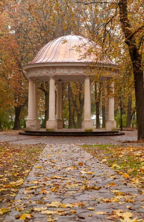 Autumn park with a footpath to summer house. The Lvov park Stock Photo - 9966385