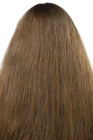 long shots: Femminile dei capelli vicino. La vista posteriore Archivio Fotografico