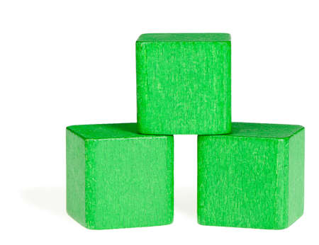 Green wooden cubes. It is isolated on a white background photo