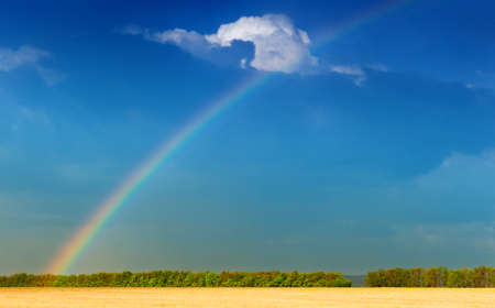 Rainbow. A landscape with a rain and a rainbow. Stock Photo - 10337884